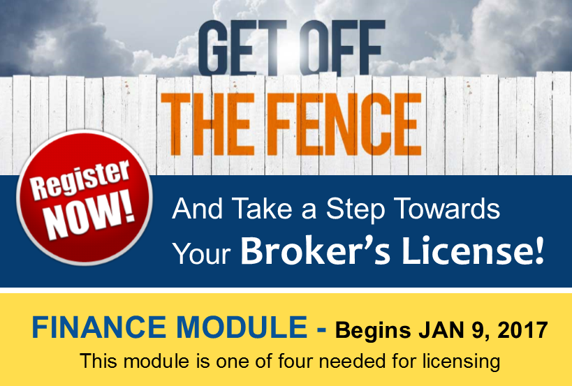 Broker Pre-licensing education Begins Jan 9 2017