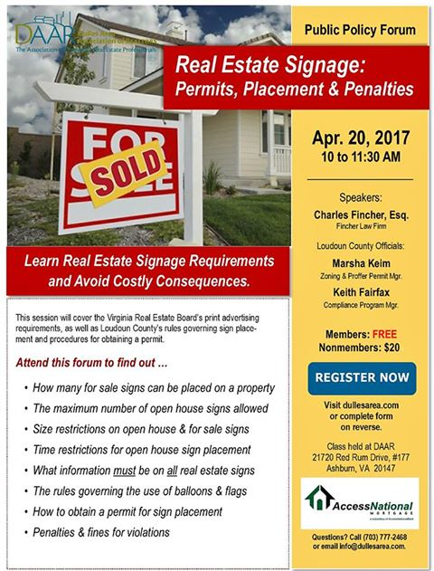 Know the Rules: Real Estate Signs – Permits, Placement & Penalties – Thursday, 4/20 Post Thumbnail
